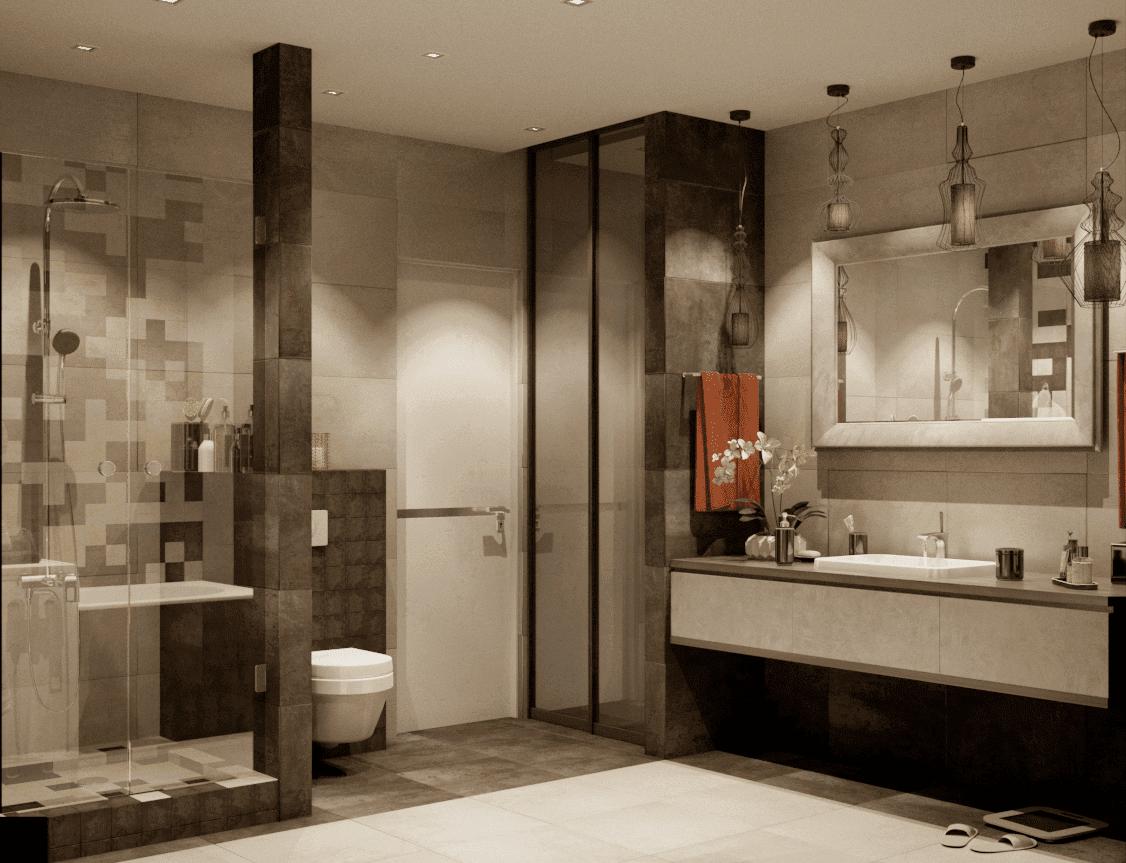 Дизайн большой ванны в оттенках коричневого