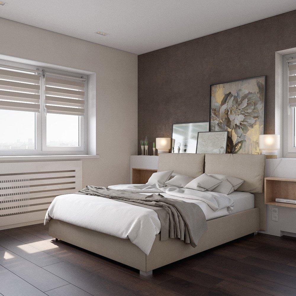 Светлые рольшторы в интерьере спальни