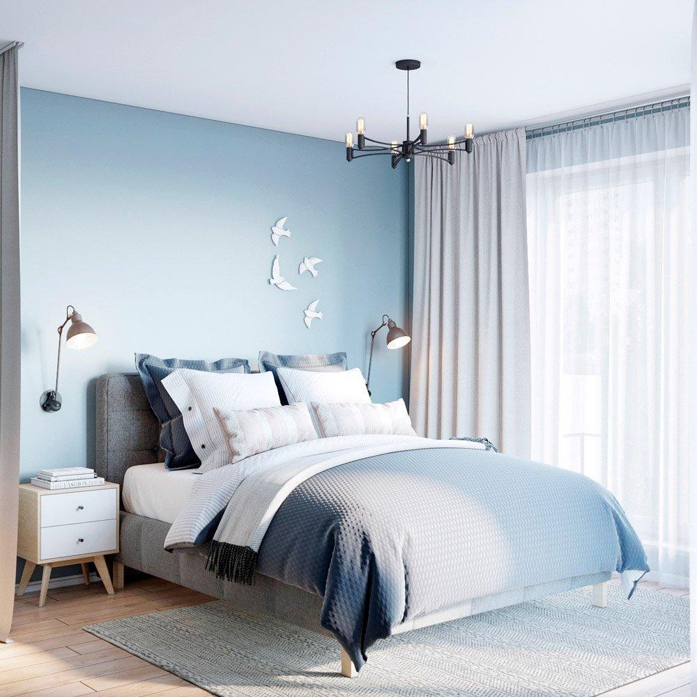 Свежие оттенки голубого для спальни