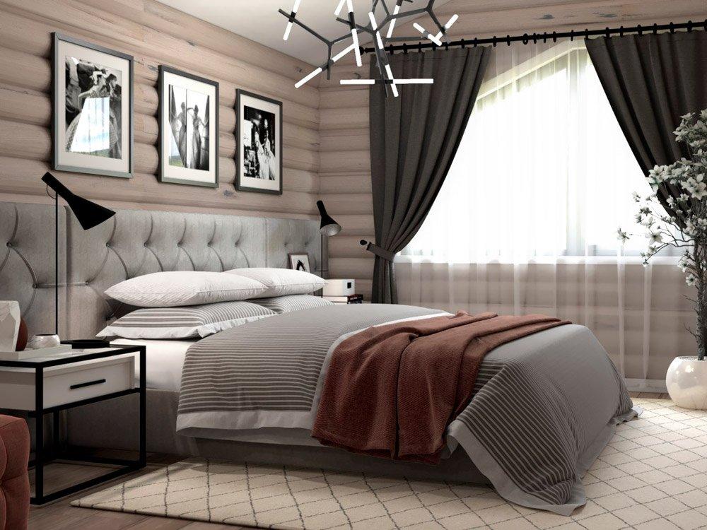 Фото дизайна спальни под дерево в загородном доме