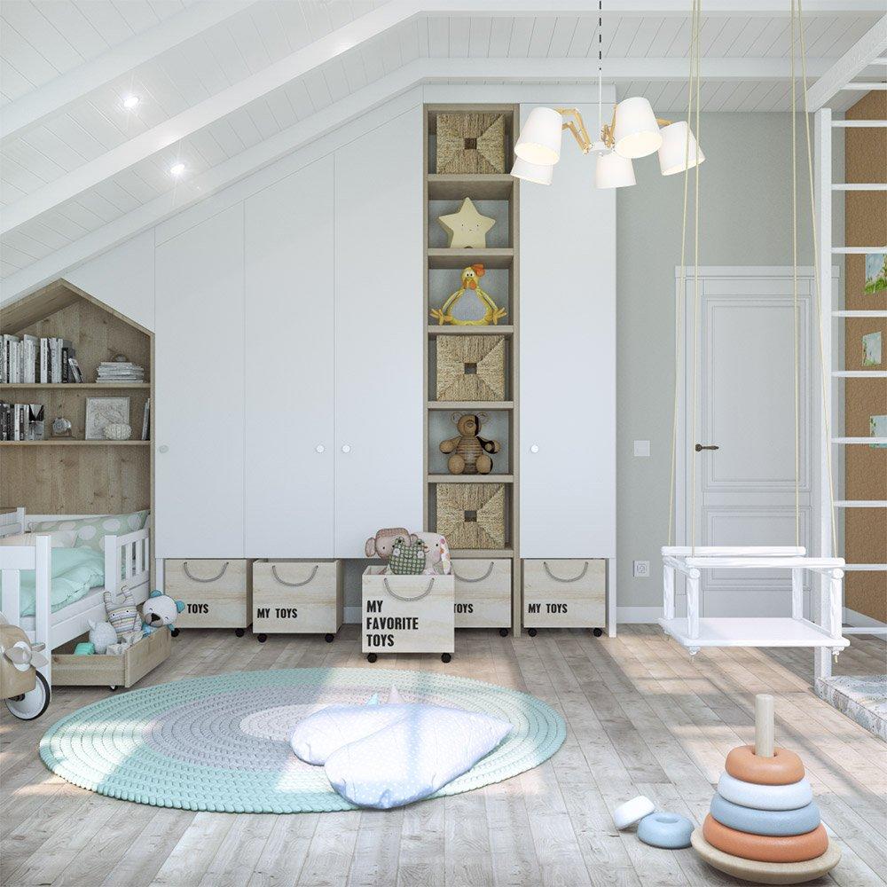Шкафы и ящики для игрушек в детской комнате