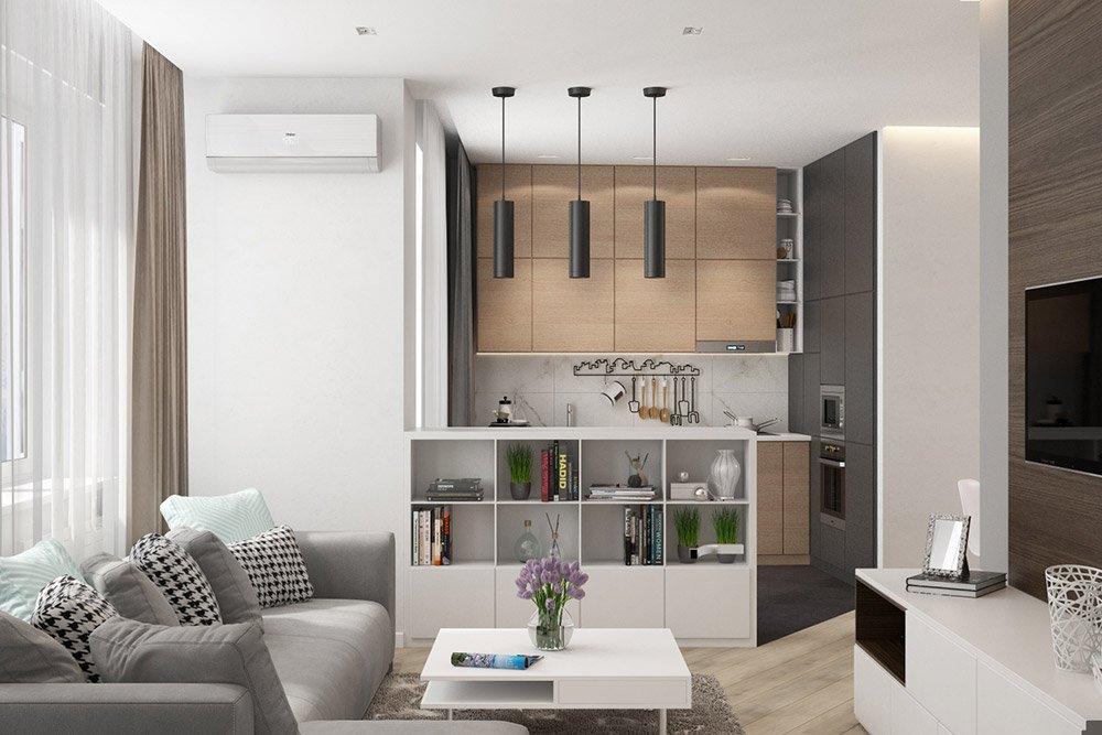 Современный дизайн кухни с гостиной