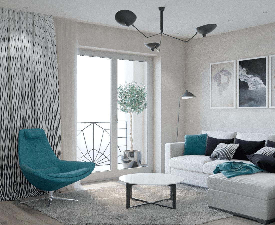 Светлая комната отдыха в доме