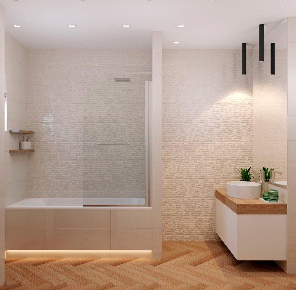 Светлая рельефная плитка в ванной