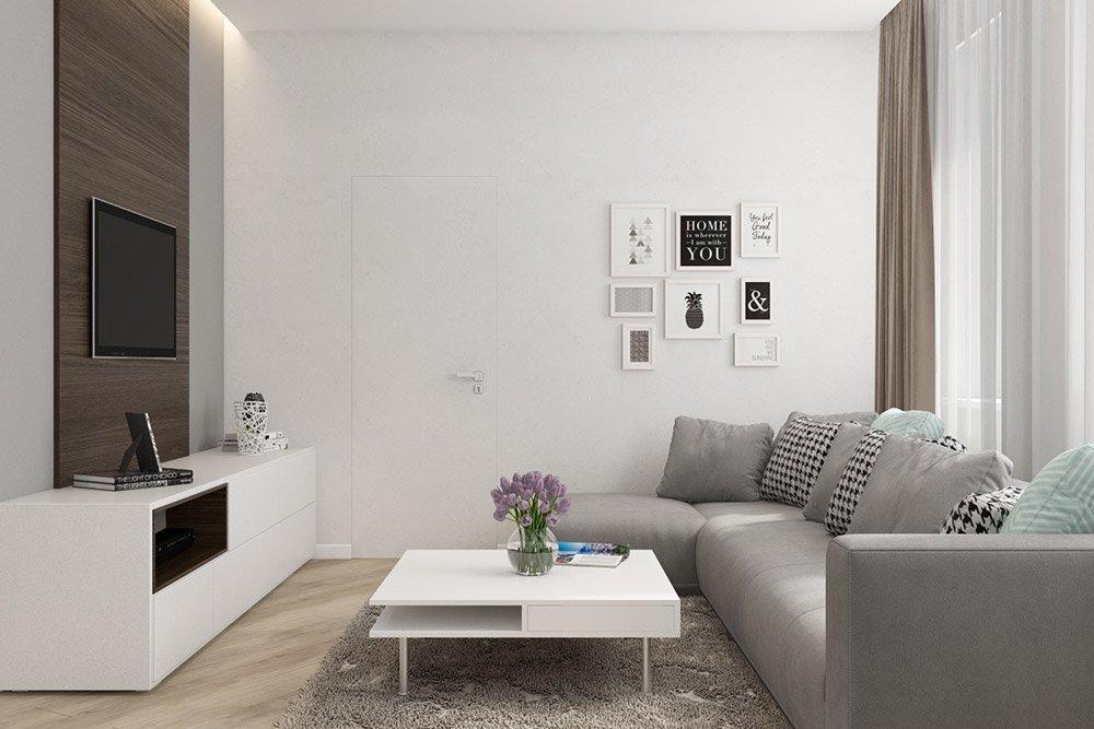Дизайн стен в белом цвете