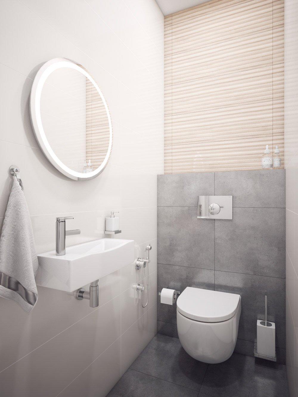 Дизайн узкого светлого туалета