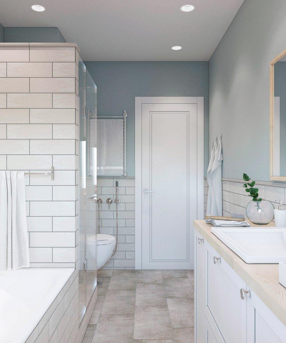 Белая продольная плитка в интерьере ванной