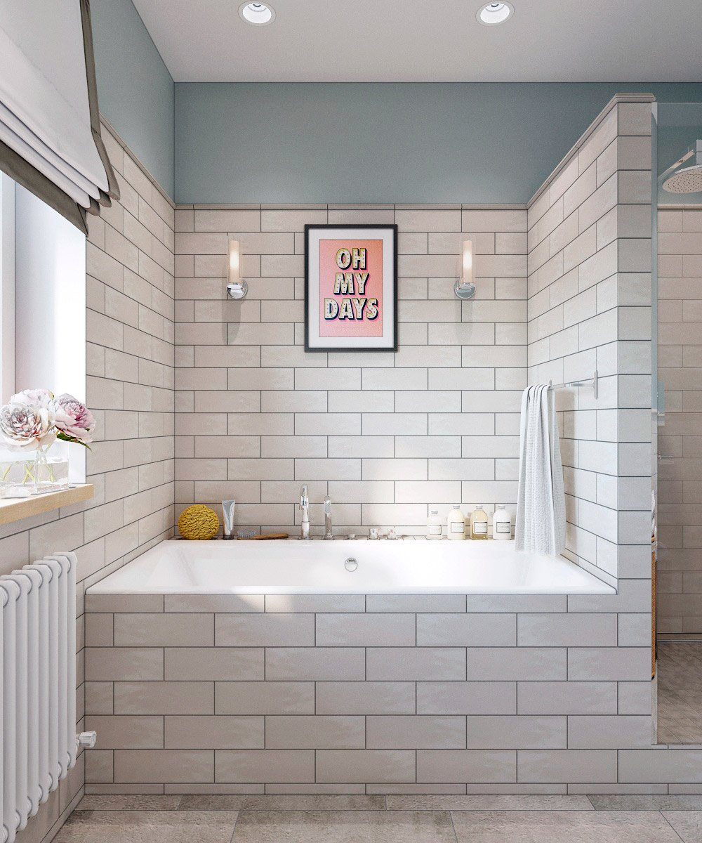 Дизайн ванной с обычной белой плиткой