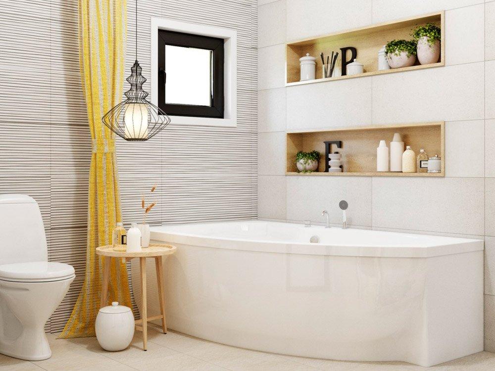 Дизайн шкафа с полками в ванной