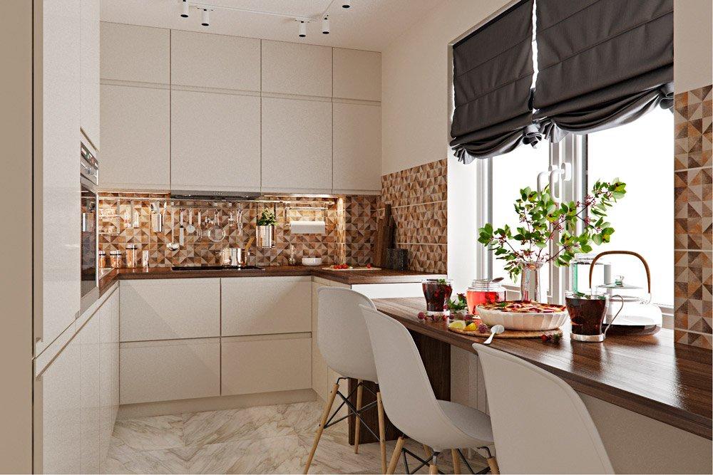 Мелкая бежевая плитка в кухне