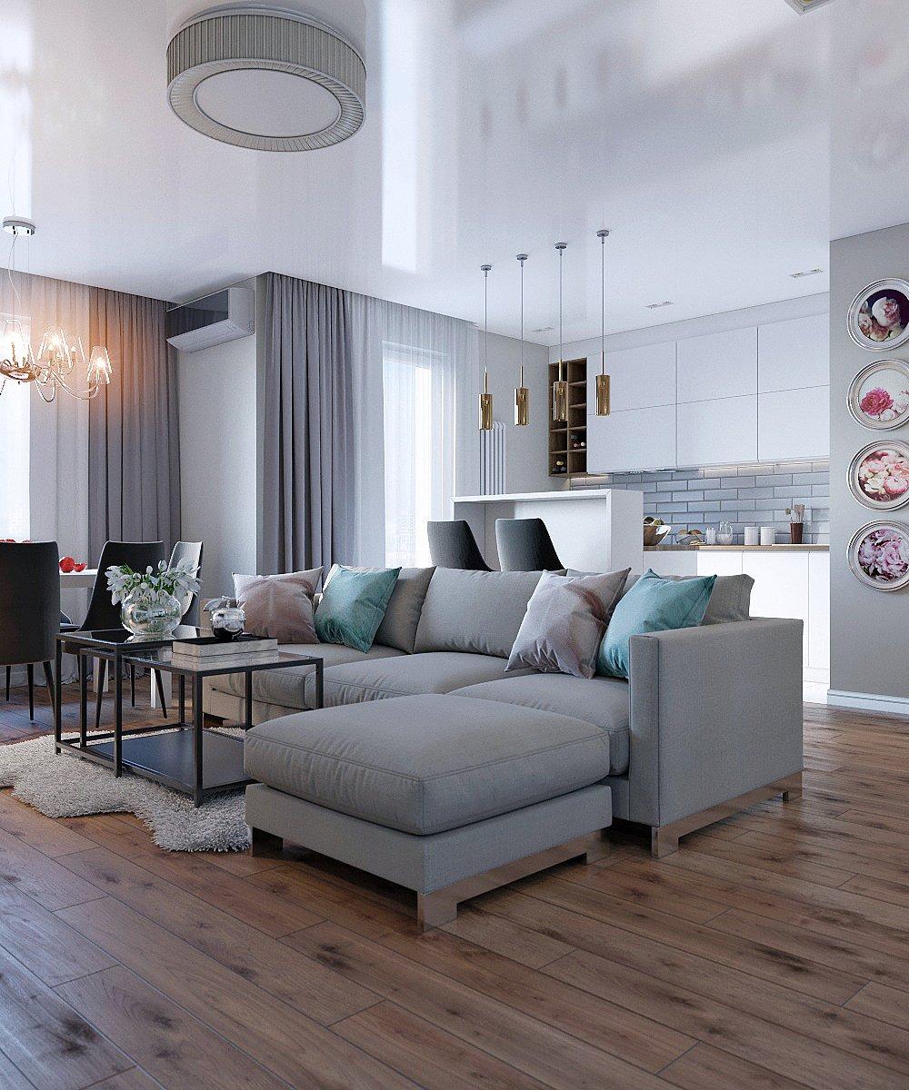 Совмещённая кухня, гостиная и столовая зоны