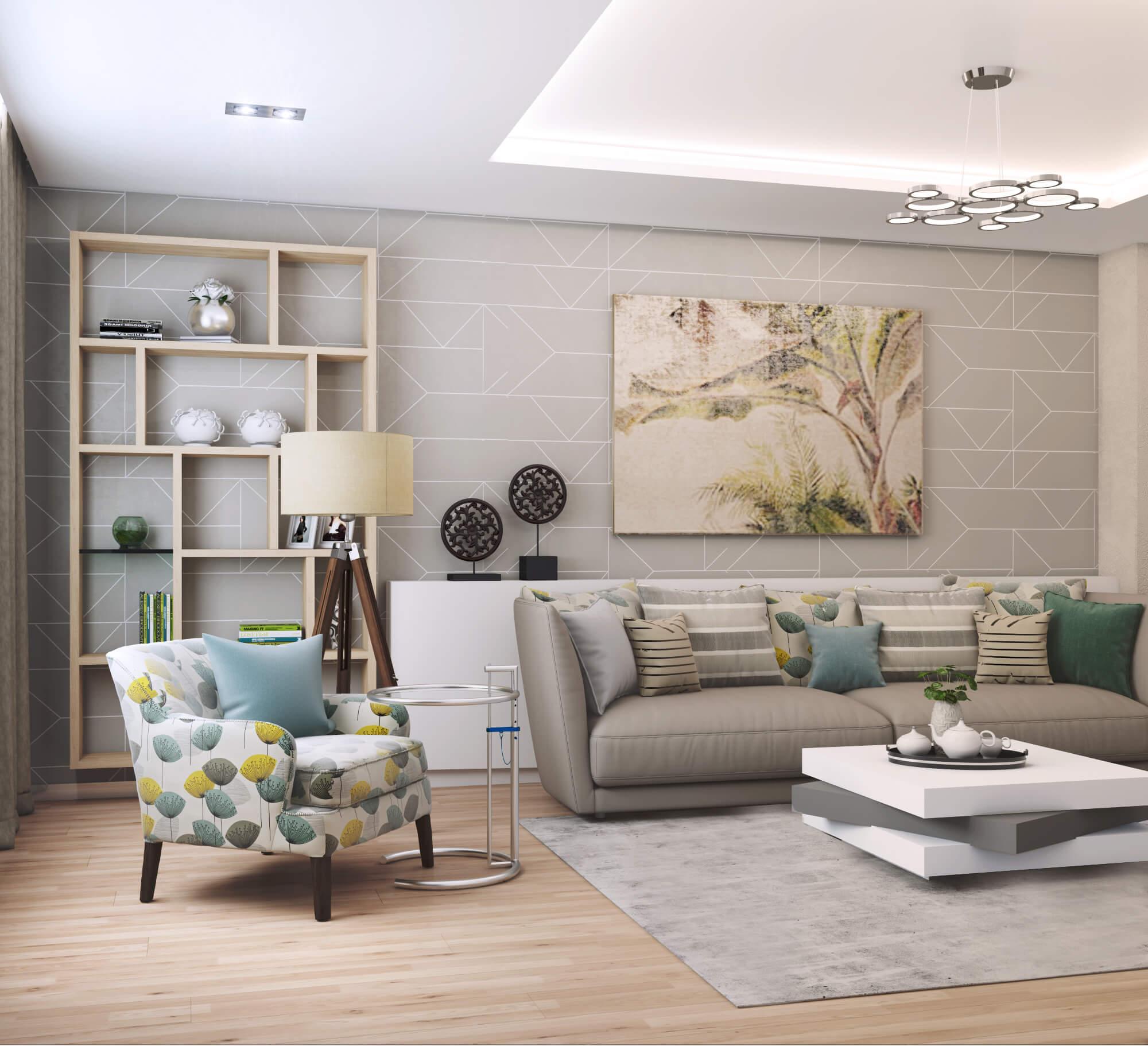 Современный дизайн проект гостиной комнаты