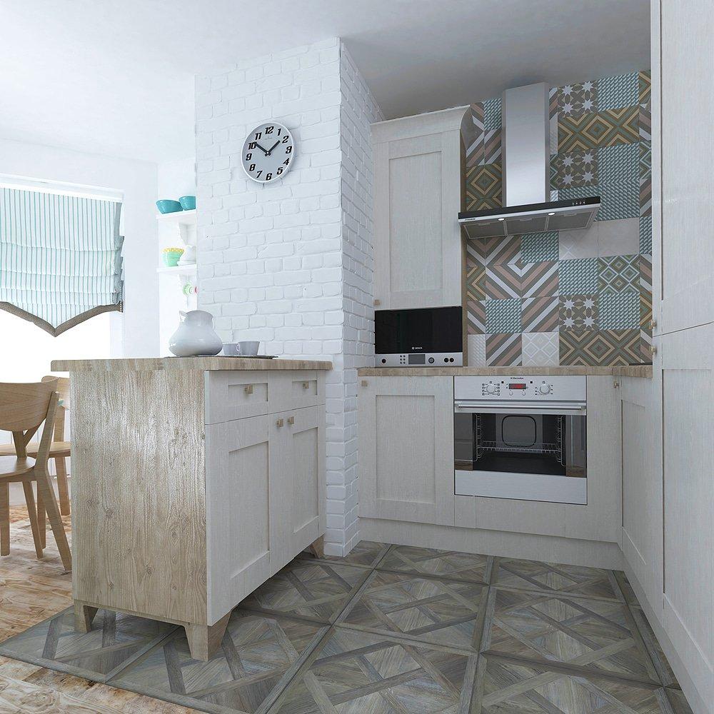 Рабочая зона кухни в скандинавском стиле