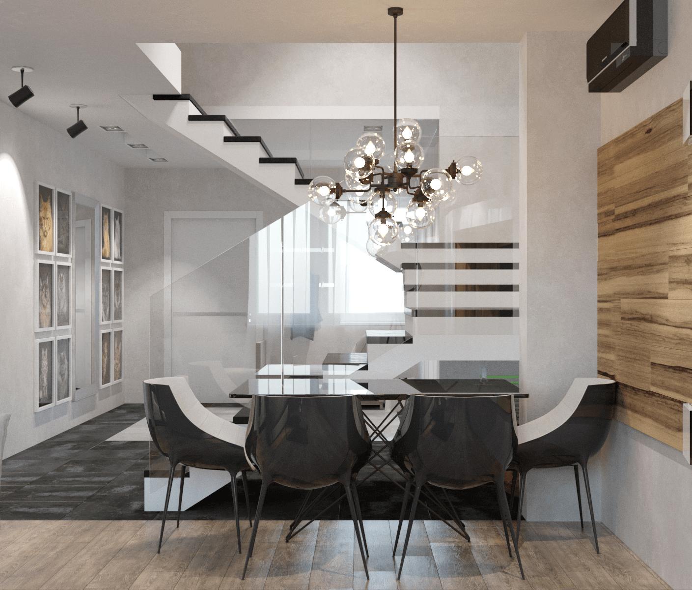 Дизайн просторной столовой зоны в доме