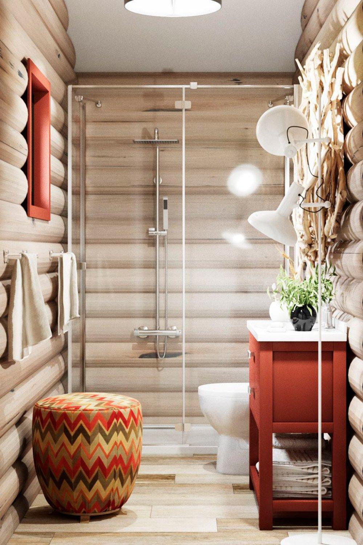 Декор стен в деревянной душевой
