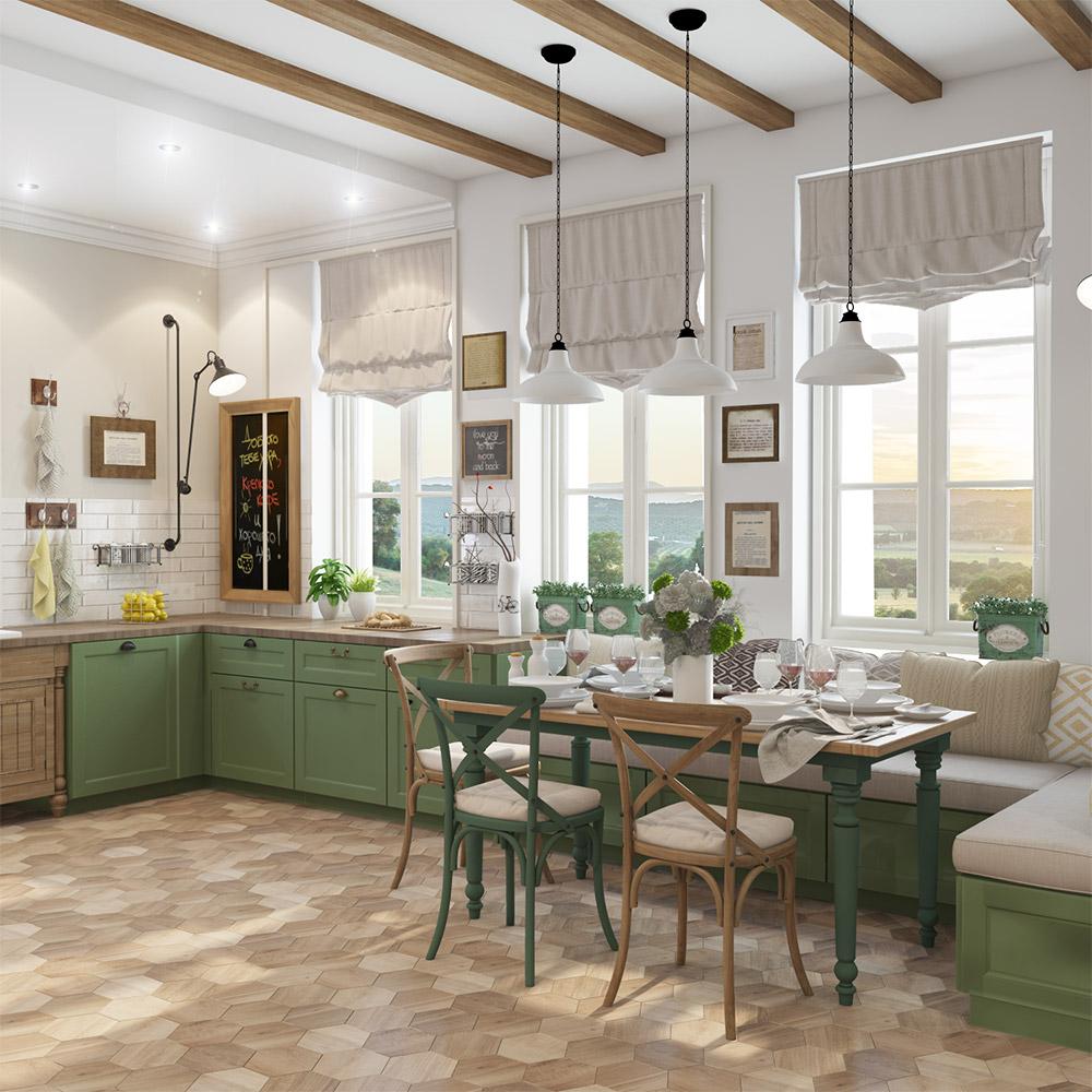 Декор большой кухни в частном доме