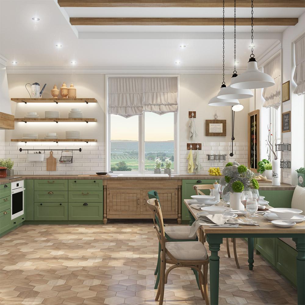 Дизайн кухни для большой семьи в частном доме