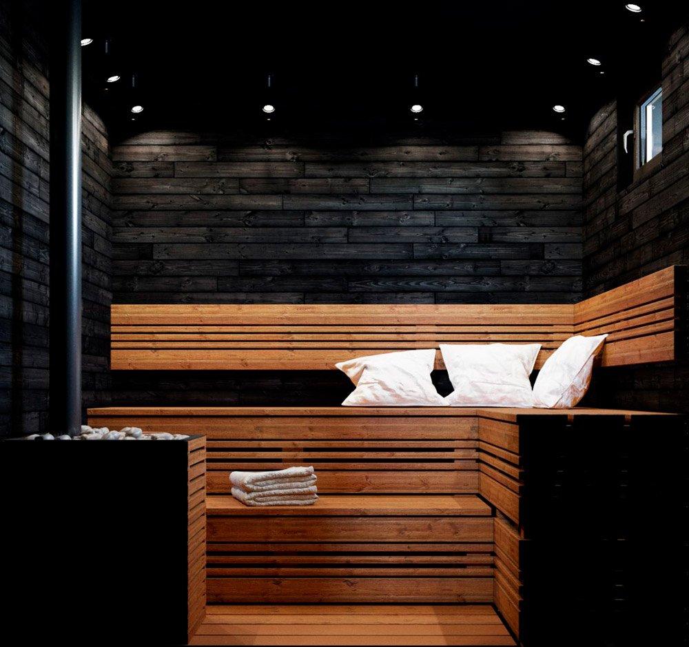 Интерьер бани в частом доме
