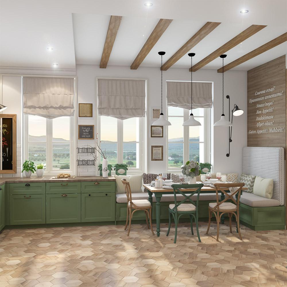 Светлая кухня в двухэтажном частном доме