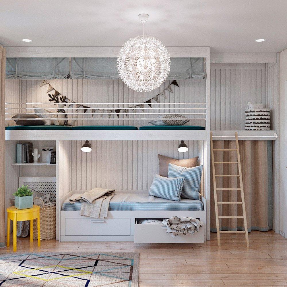 Дизайн детской комнаты с двухэтажной кроватью