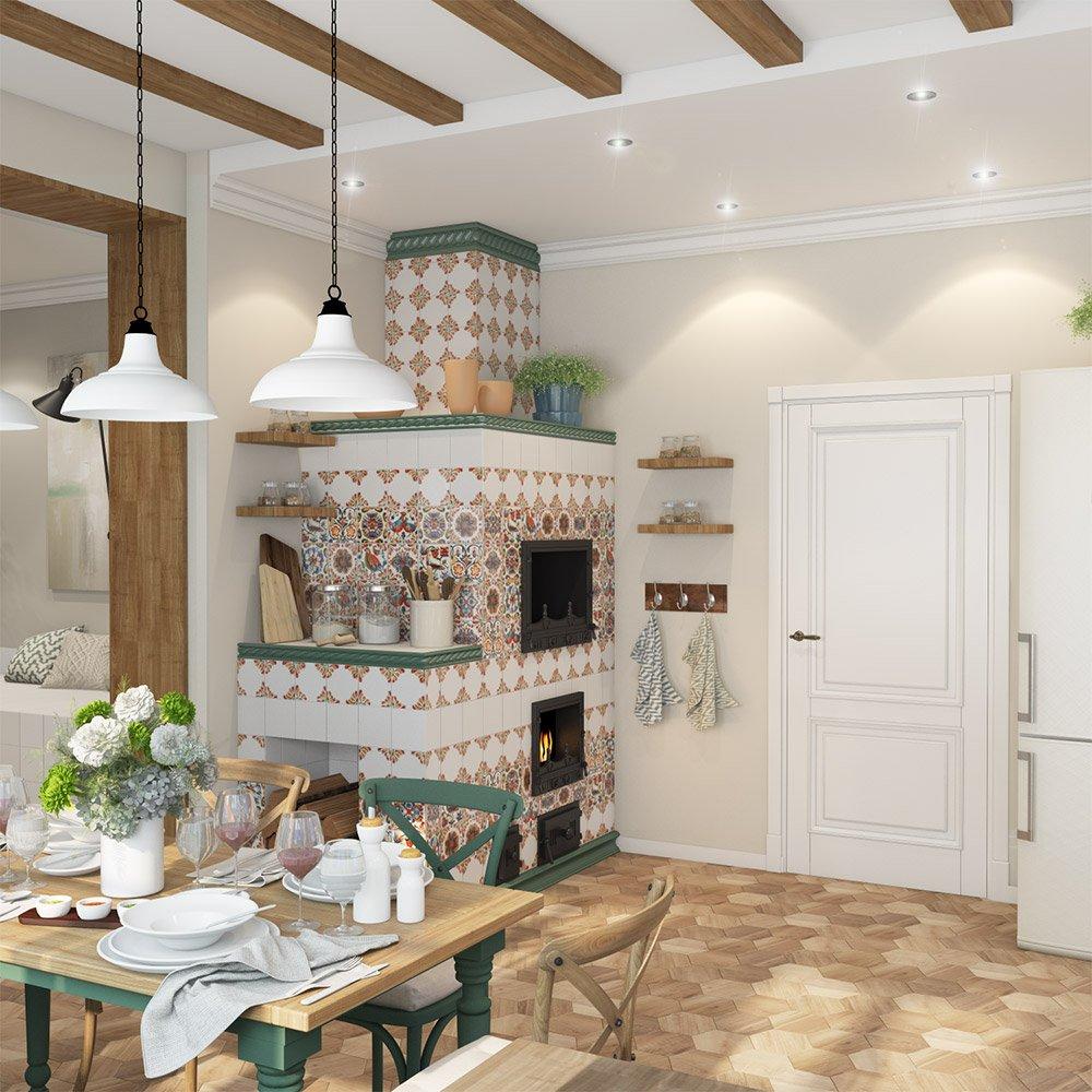 Дизайн русской печки в интерьере частного дома