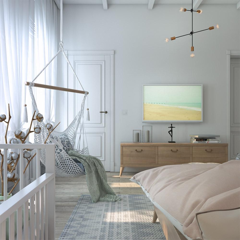 Подвесное кресло в спальне частного дома