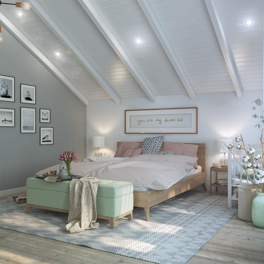 Дизайн спальни на втором этаже двухэтажного дома