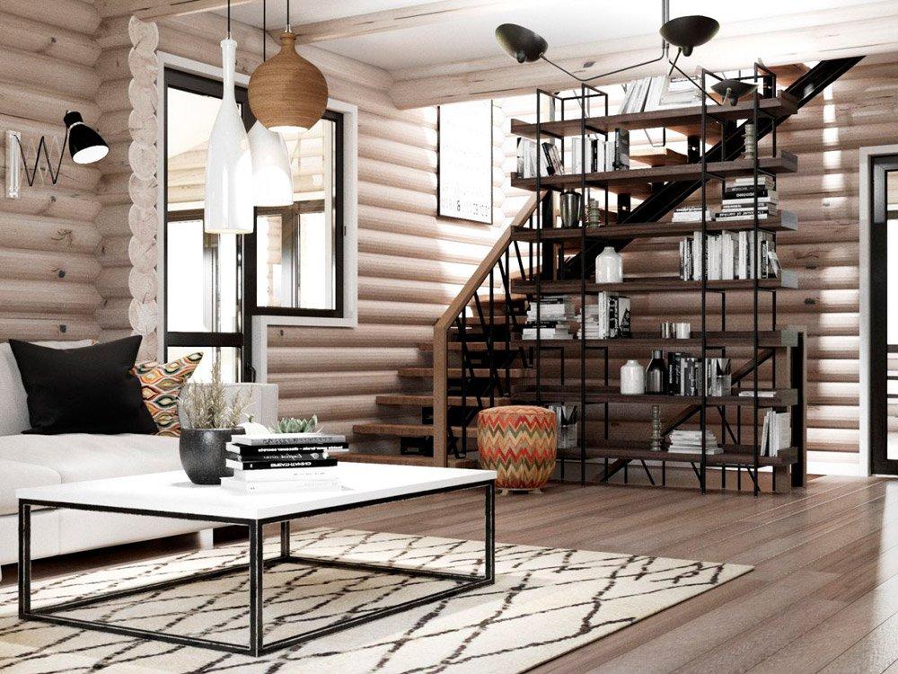 Дизайн дома из деревянных балок