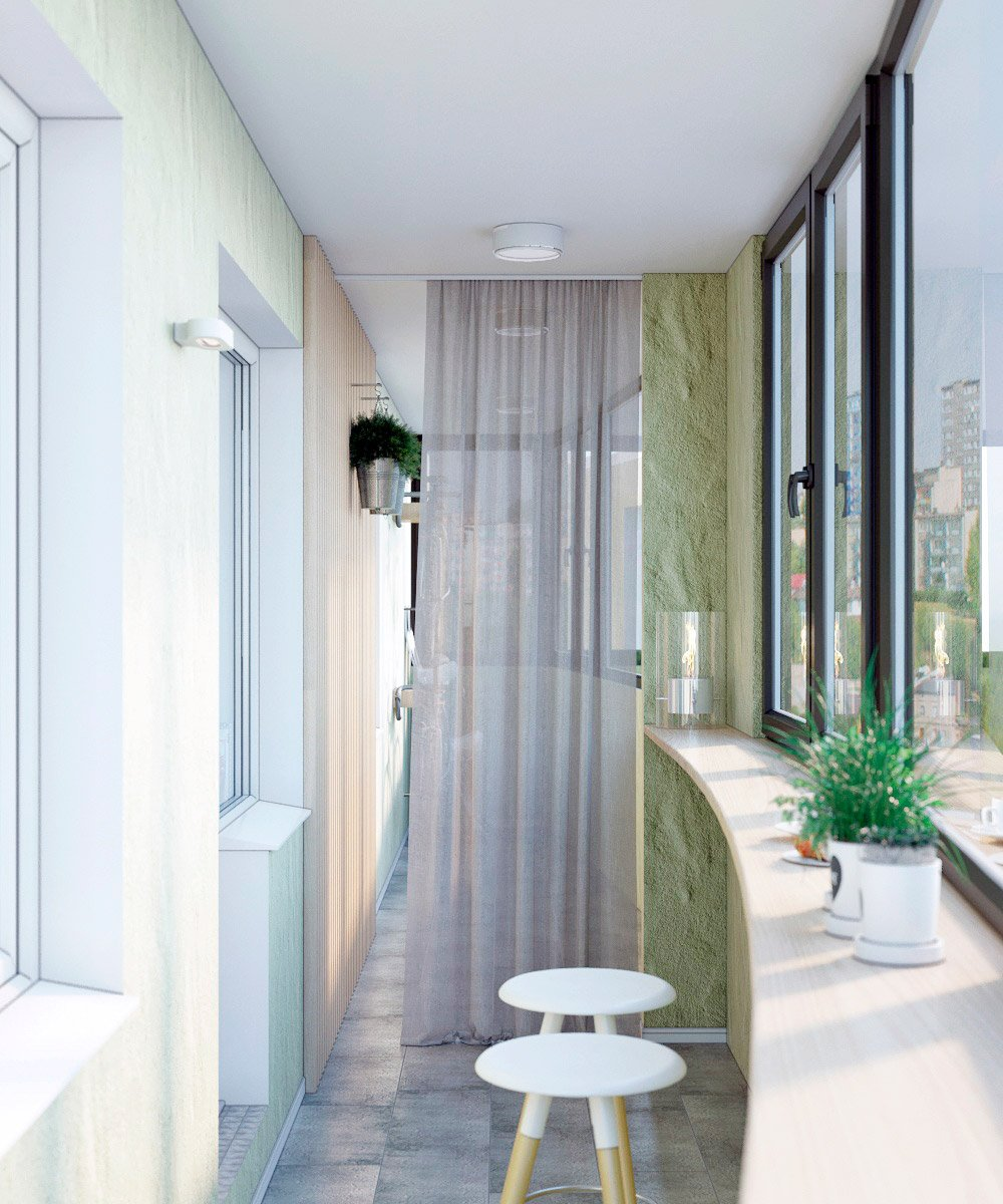 Длинный балкон разделённый шторой