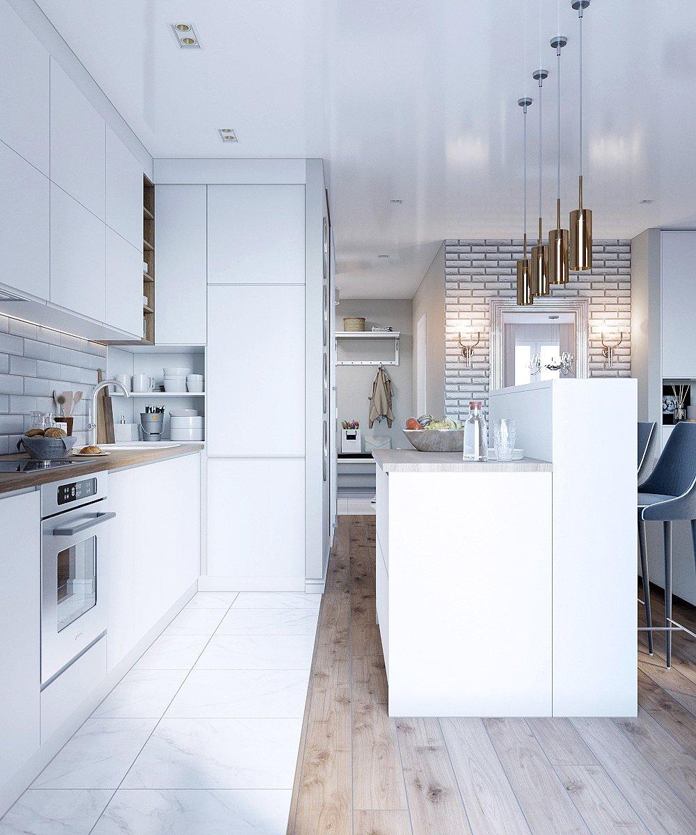 Белая кухня с элементами дерева
