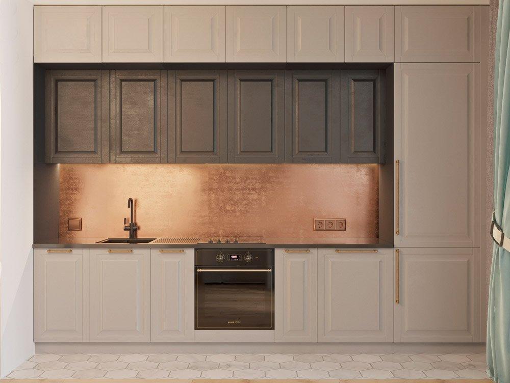 Дизайн шкафов в кухне в бежевых тонах