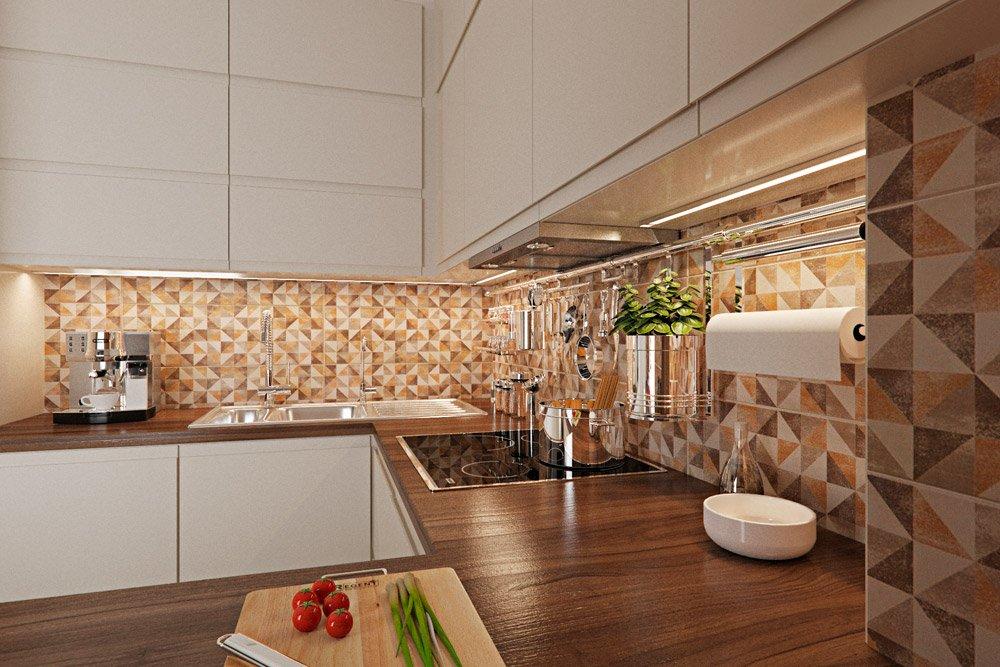 Фото дизайна столешницы в тёмном дереве кухня