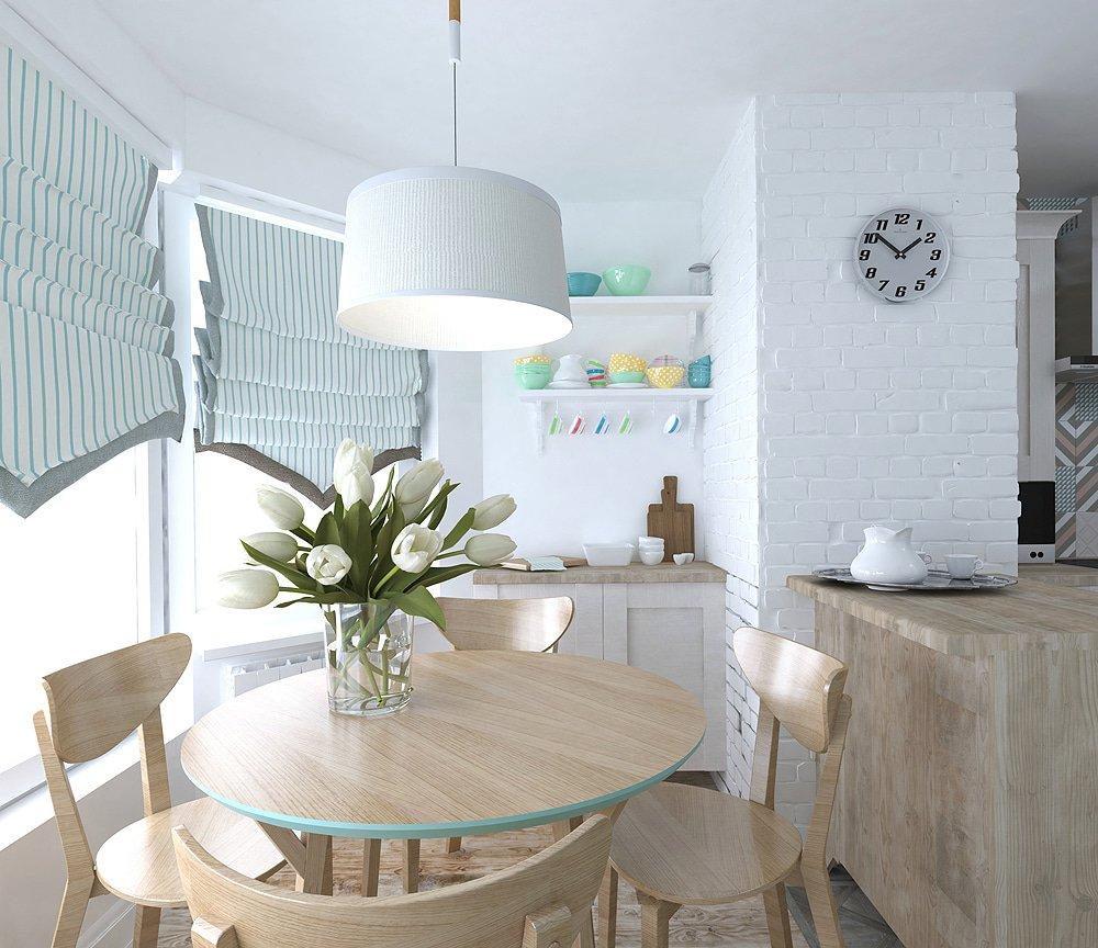 Дизайн деревянного стола в кухне