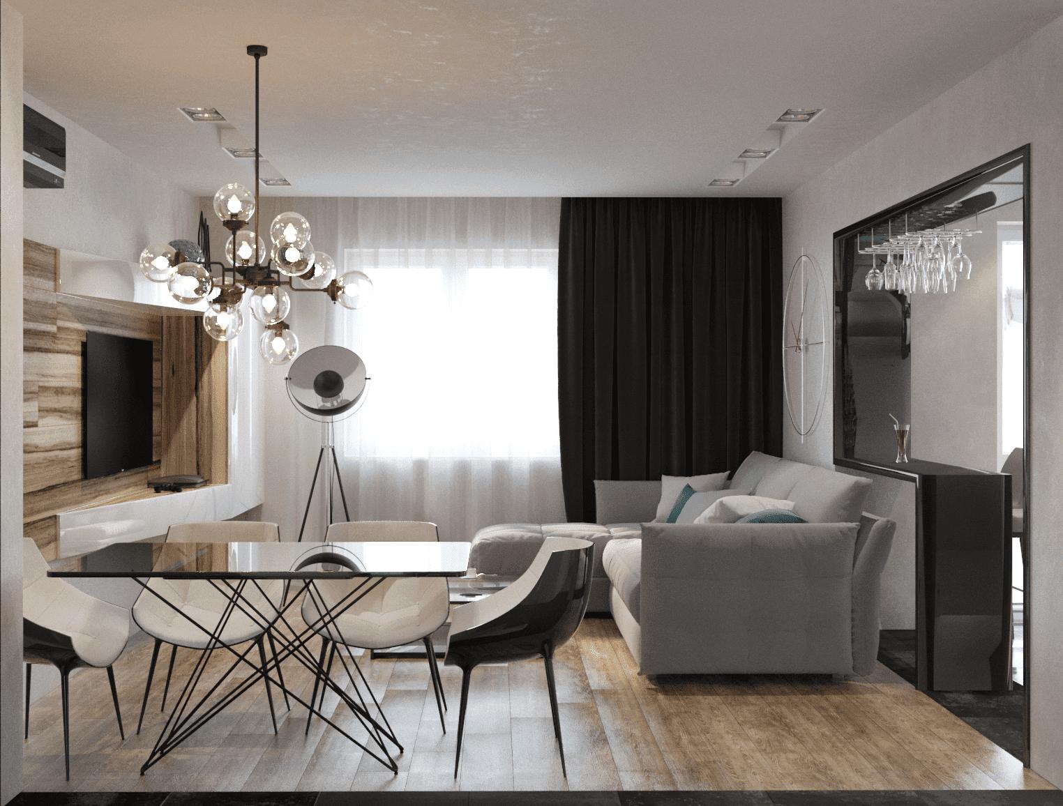 Аккуратное оформление зоны гостиной