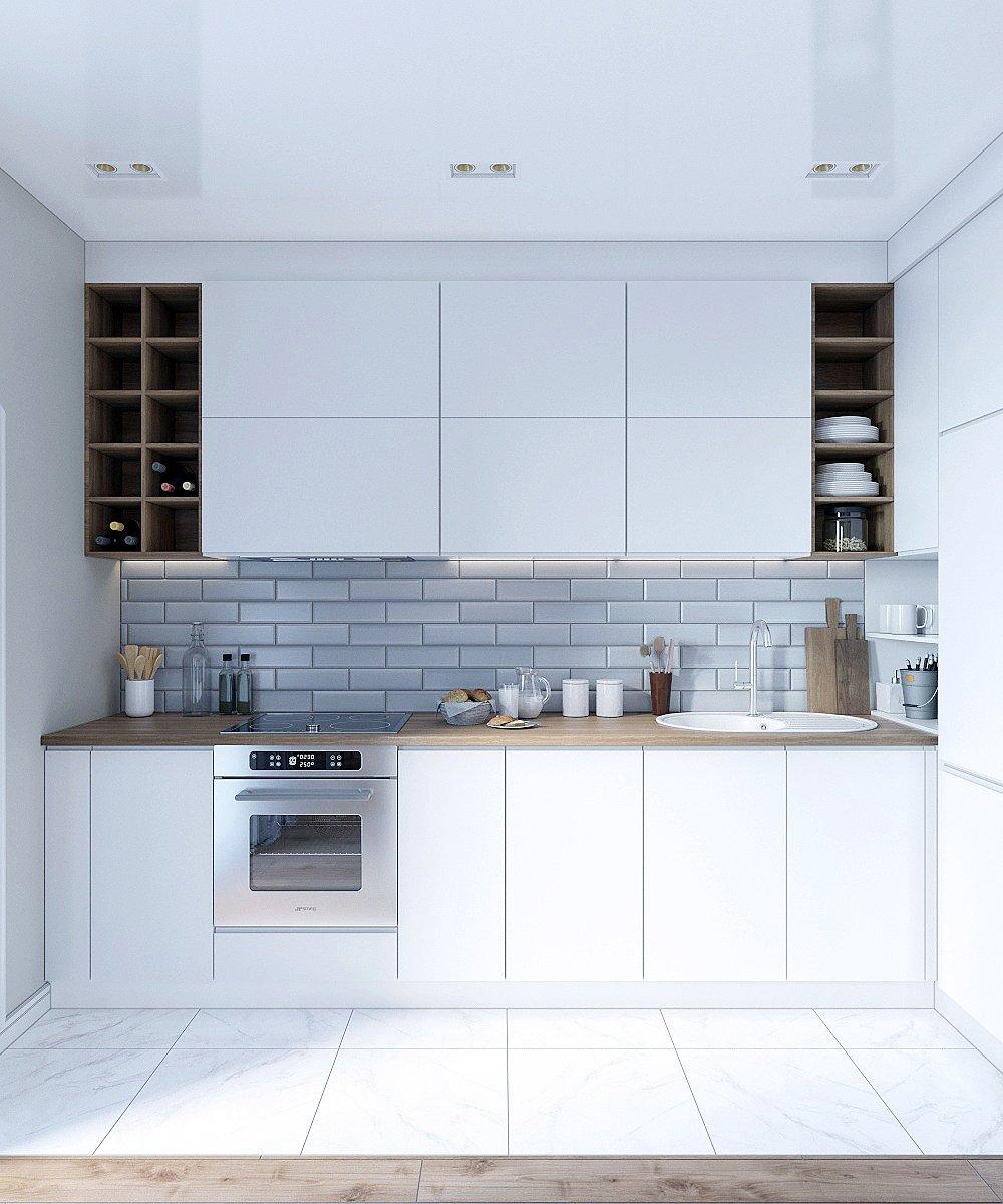 Светлая рабочая зона в кухне маленькой квратиры