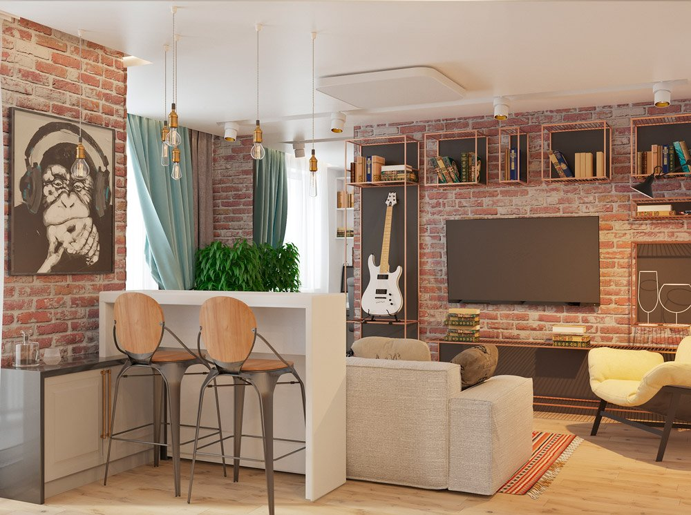 Планировка гостиной и кухни в двухкомнатной квартире
