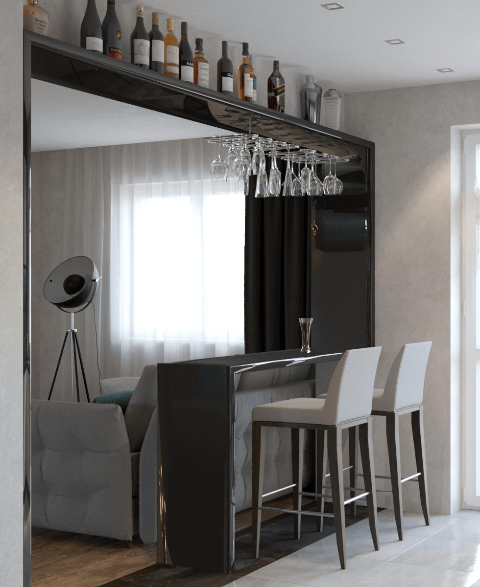 Фото тёмной барной стойки в кухне