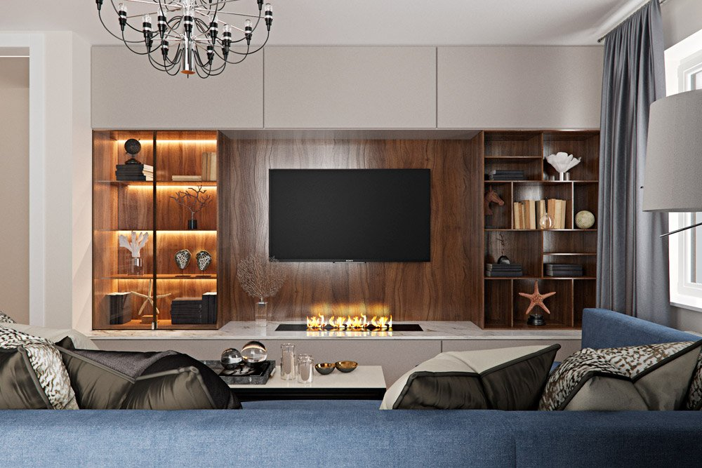 Фото большого шкафа в гостиной