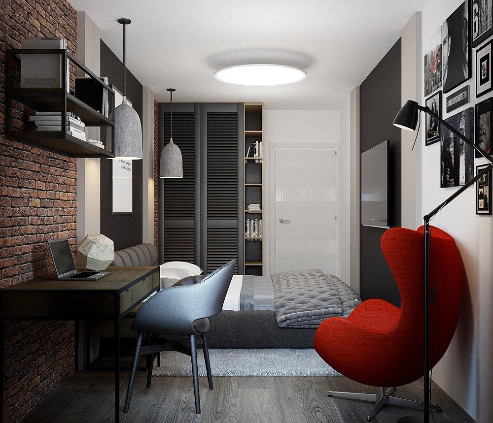 Дизайн спальни с красным кирпичом