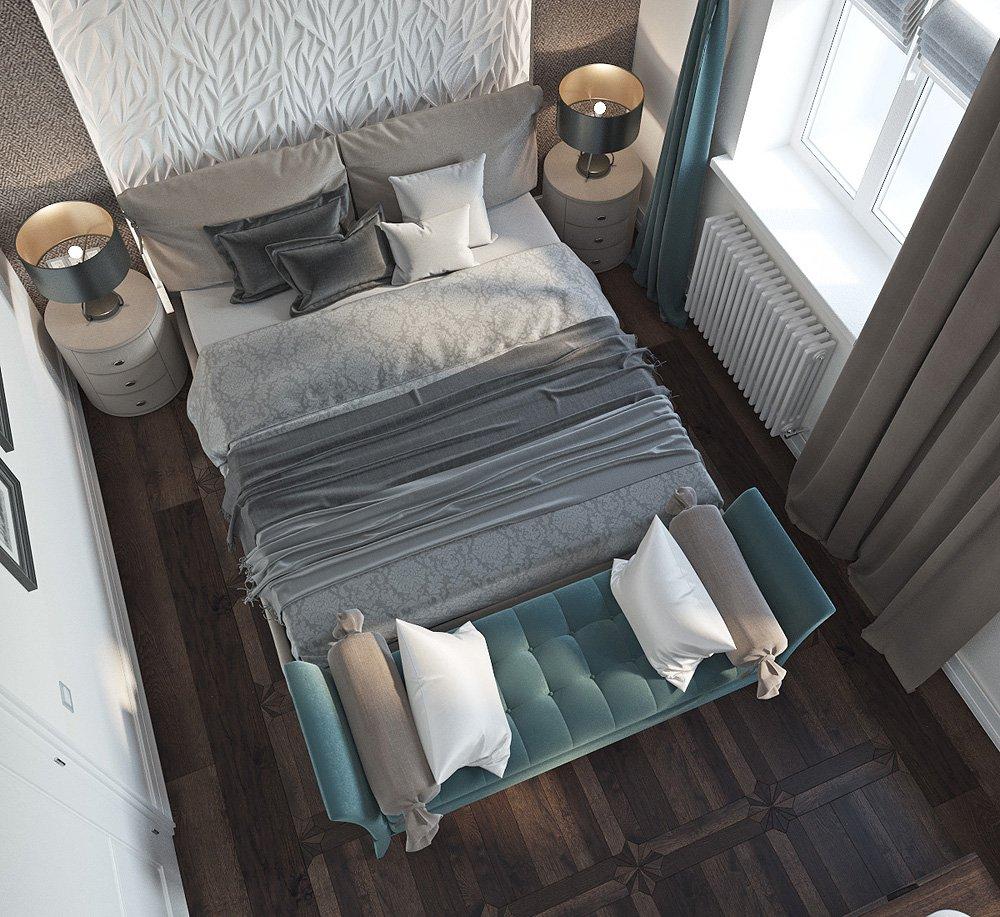 Фото узкой спальни вид сверху