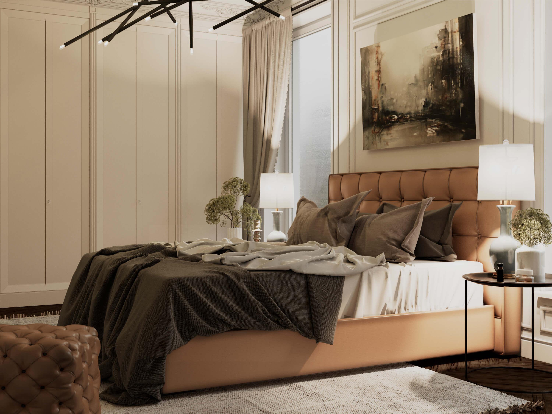 Бежевая спальня картинка
