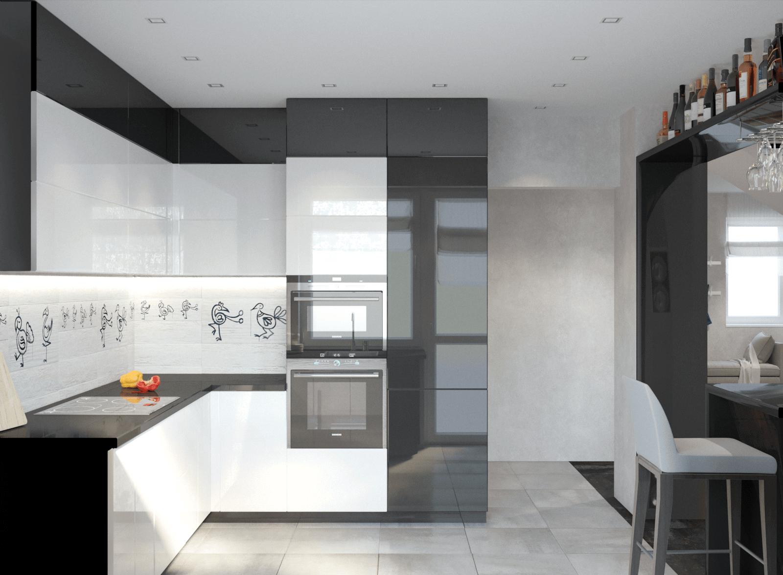 Большая кухня в доме в чёрно-белом цвете