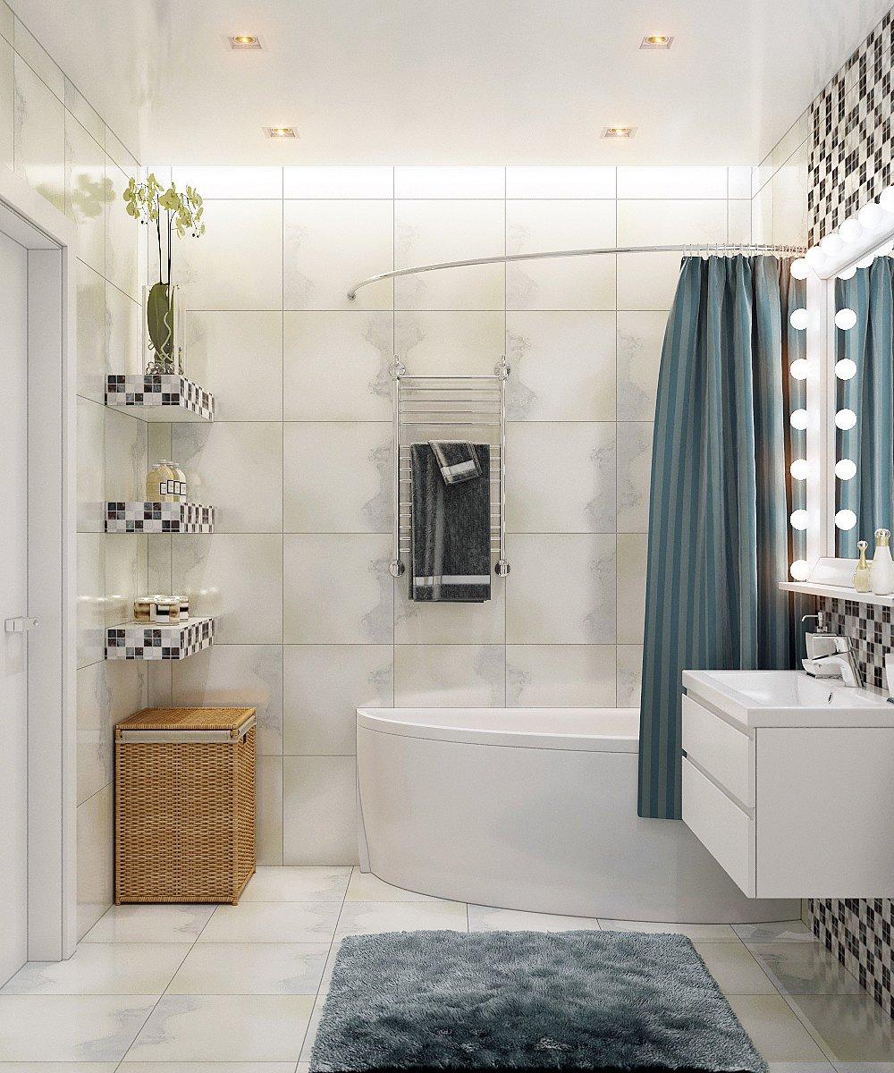 Удобная и просторная ванная комната для девушки