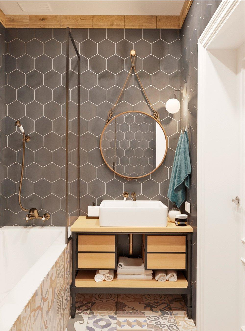 Дизайн деревянного умывальника в ванной