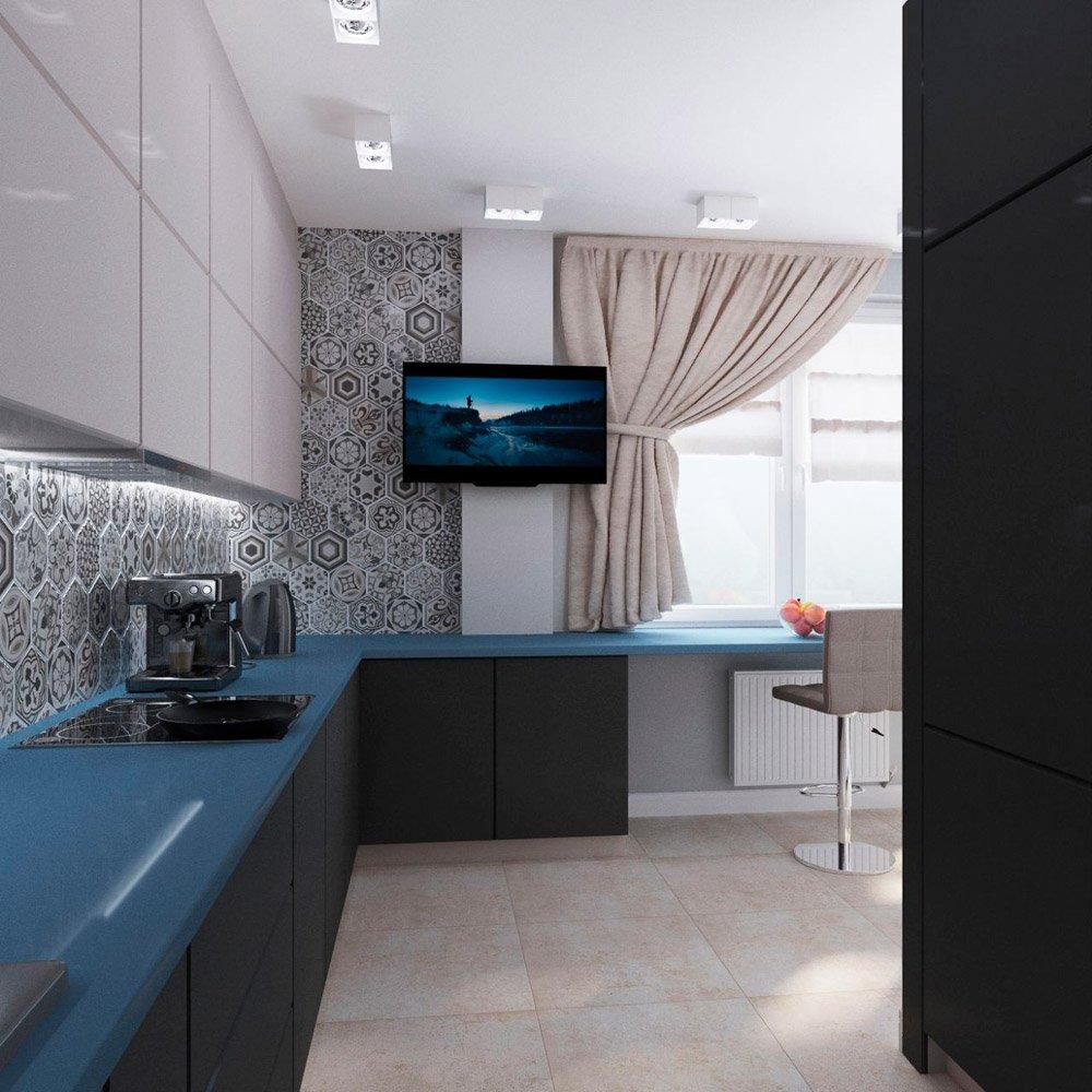 Барная стойка возле окна на кухне