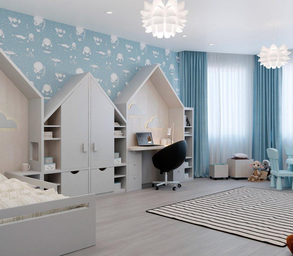 Дизайн детской комнаты в голубых оттенках
