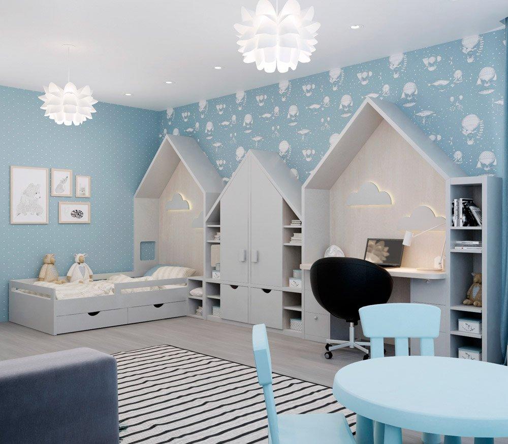 Планировка большой детской комнаты