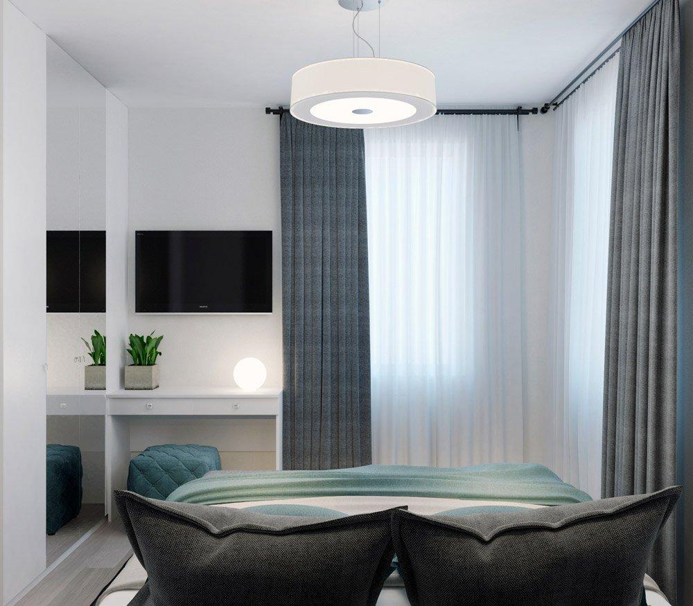 Дизайн спальни с узкими окнами