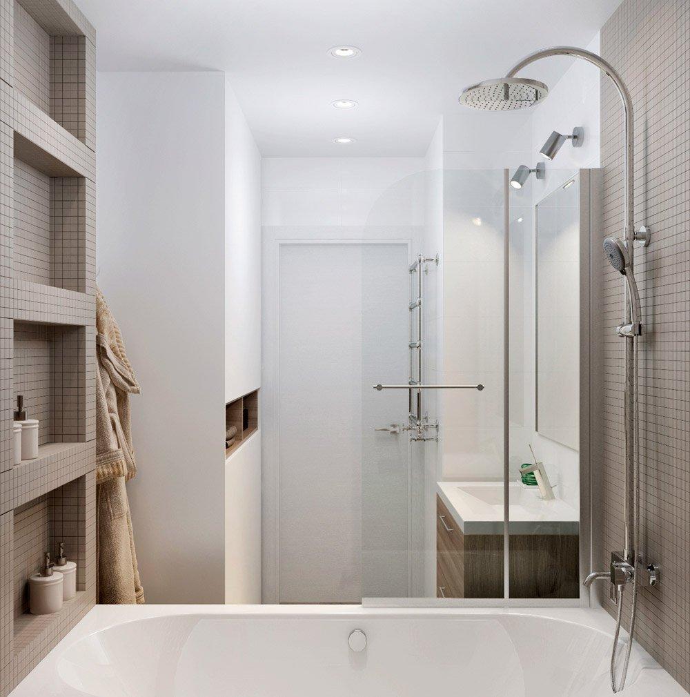 Мелкая квадратная плитка в дизайне ванной