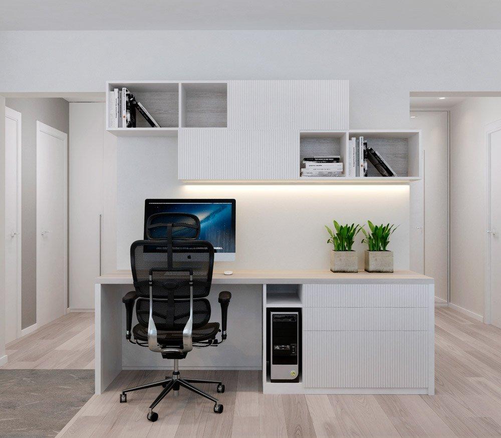 Рабочая зона в совмещённой комнате